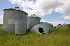 Grain bins  at a farm Stock Image
