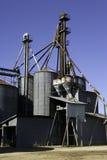 Grain bins latta. Old galvanized metal grain bins still in use in Latta, South Carolina Royalty Free Stock Image