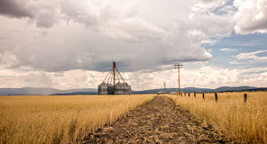 Grain Bins on a Stormy Day Stock Photo