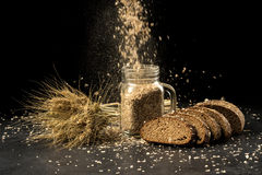Grain bouquet, golden oats spikelets in jar on dark wooden table, buns and can filled with dried grains Royalty Free Stock Photo