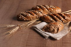 Grain bread with ears Stock Images