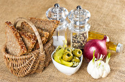 Grain bread with olives, garlic, onion and spices Royalty Free Stock Image