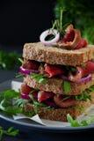 Grain bread sandwich with roast beef,. Onion and arugula Royalty Free Stock Photos