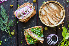 Grain bread with sardines and greens next to the bank sprats Royalty Free Stock Image