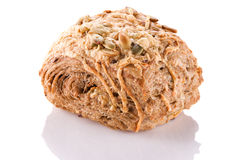 Grain bun close-up on a white background. Royalty Free Stock Images
