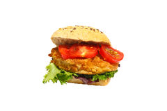 Grain bun, fried pork, lettuce, tomatoes, isolated Royalty Free Stock Photo
