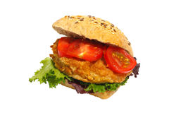 Grain bun, fried pork, lettuce, tomatoes, isolated Royalty Free Stock Images