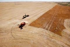 Grain Cart and Combine on Prairie Field Stock Photos