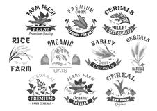 Grain and cereal product farm market vector icons Royalty Free Stock Photography