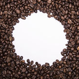 Grain of Coffee background. Round space for the text Royalty Free Stock Image