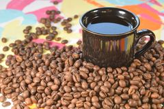 Grain coffee. On a colorful background Royalty Free Stock Photos