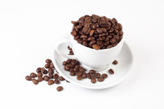 Grain coffee & white cup Royalty Free Stock Photo