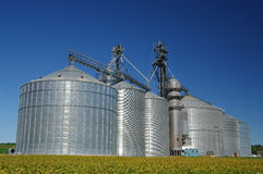 Grain Cooperative. Large silos hold corn, soybeans and other grain for producers in southern Wisconsin Royalty Free Stock Photo