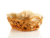 Grain crackers, rice wheat, biscuits and grains of wheat on white background Royalty Free Stock Photography