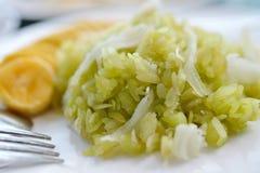 grain déchiqueté de riz avec le thaifood de chair et de banane de noix de coco images libres de droits