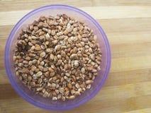 Grain d'avoine rôti dans la cuvette Images stock