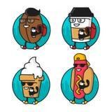 Grain de café frais de bande dessinée, tasse de papier, hot dog, caractère de crème glacée  Autocollants d'illustration de nourri Photos stock