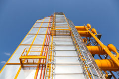 Grain driyng construction on a silos system Royalty Free Stock Photos