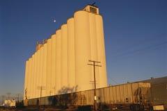 Grain elevator. Next to railway cars Royalty Free Stock Photo