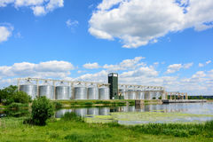 Grain elevator in agricultural zone. Stock Photos