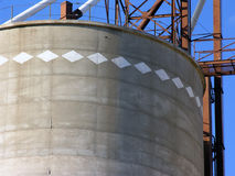 Grain Elevator Detail. A diamond pattern encircles the top of a grain elevator in northwestern Oklahoma Royalty Free Stock Photos