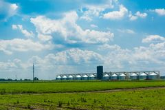 Grain elevator in a green field. The blue cloudy sky. Agricultural business. Trucks go to the loading. Spring. Young green plants. Harvest. Cereal storage stock images
