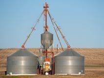 Grain elevator in wheat field. Grain elevator in yellow wheat field Stock Image