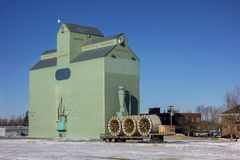 Grain Elevator Wood Structure Silos Alberta Prairies Canada Stock Photos