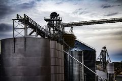 Grain Elevators on an Overcast Day Royalty Free Stock Photo
