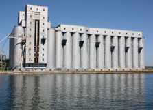 Grain elevators in Owen Sound Harbour. Grain elevators in Owen Sound, Ontario, Canada. Located in Georgian Bay royalty free stock photo