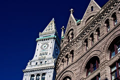 Grain exchange with custom house. Low angle view of two historic buildings from early america in boston massachusetts, the grain exchange and the custom house Royalty Free Stock Photography