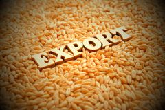 Grain export. Wooden letters on the background of wheat grains. Vignetting, toning. High yield. External economic relations of the. Country. Allowing or banning stock image