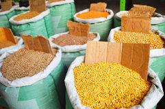 Grain food and spices in Arabic store Royalty Free Stock Photography