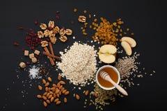 Grain free oat free paleo granola: mixed nuts, seeds, raisins, h Stock Image
