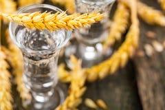 Grain, with grain liquor on wood Royalty Free Stock Image