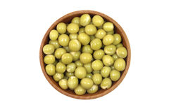 Grain green peas in a wooden bowl Stock Image