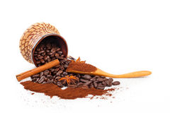 Grain and ground coffee spilled stock image
