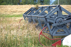 Grain harvester agricultural rotary combine in a field on summer day Stock Photos