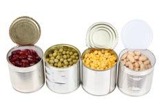 Grain in metal tins Stock Photo