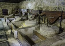 Grain mills. Mills stone inside the water mills in the krka natural park, Croatia Stock Image