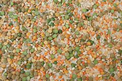 Grain mix background. With bulk, beans and rise stock photo