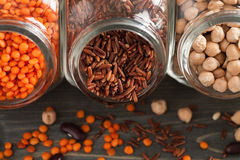 Grain mix in glass jars top view. Closeup shot, selective focus stock photography