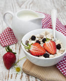 Grain muesli with strawberries Royalty Free Stock Images