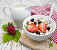 Grain muesli with strawberries Royalty Free Stock Photo