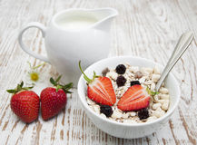 Grain muesli with strawberries Stock Photography