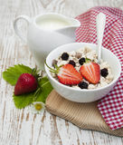 Grain muesli with strawberries Royalty Free Stock Image
