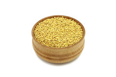 Grain mustard in a wooden bowl Stock Image
