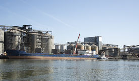 Grain port on the river Don. Royalty Free Stock Images