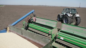 Grain is poured into the drill. Out of the truck near the tractor stock video