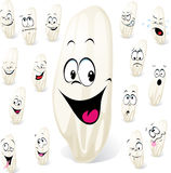 Grain of rice cartoon with many expressions stock illustration
